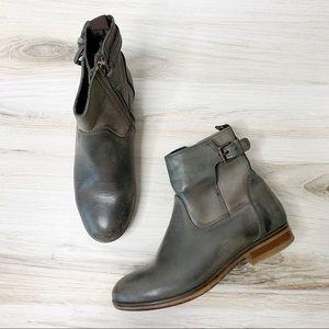 Minelli Italian Gray Leather Moto Booties